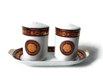 Salt & Pepper Tray/ Vintage Juno Porcelain/ Bacchus  Motif/ Elegant Salt and Pepper
