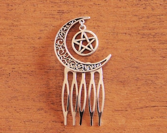 Moon and Pentagram silver hair comb