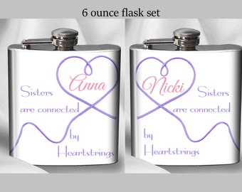 SALE! Personalized Sisters Flask Set - Sister are connected by Heartstrings  - Birthday Gift
