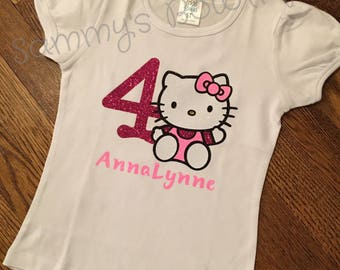 Hello Kitty Birthday shirt, custom birthday shirt, Hello Kitty Birthday, Hello Kitty Shirt, Personalized Hello Kitty shirt.