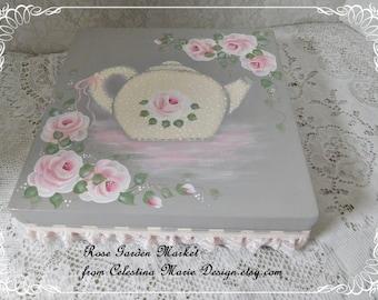 Tea Bag Storage Box, Hand Painted Tea Pot, Roses, Storage, Keepsakes, Tea Party Accent, Cottage Table, ECS