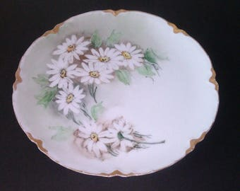 Antique   Limoges Decorative  Plate FRANCE, Haviland Limoges Plate White Flowers With Hevy Gold #01242018