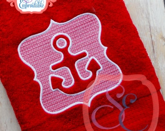 Embossed Anchor Towel Design For Machine Embroidery INSTANT DOWNLOAD