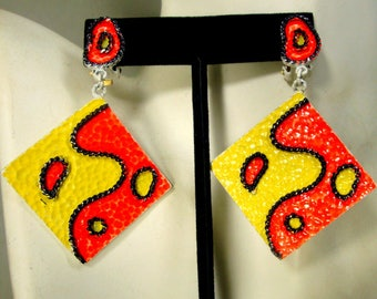 Mod Yellow Orange Black Square Clip Dangles,  1970s Hand Painted Abstract Earrings, Lightweight