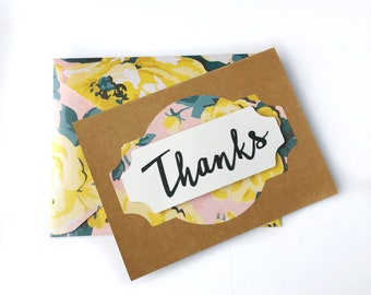 Handmade Thank You Card - matching envelope - Floral - Thanks