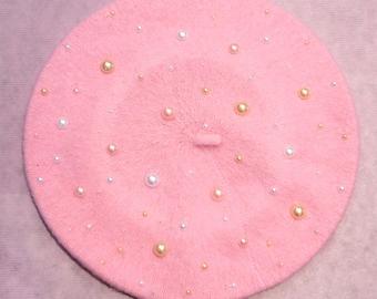 Embellished Pastel Gem Pearl Beret Hat Slouchy Beret in Light Pink