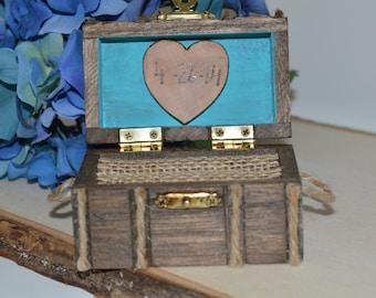 beach wedding ring box, rustic wedding ring box, aqua blue, custom color