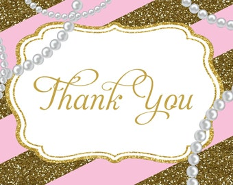 Pearls and Glitter  - Thank You Cards