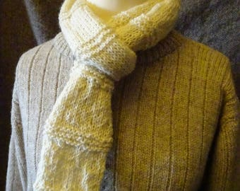 Scattald Scarf. Handknit in natural cream Bluefaced Leicester wool