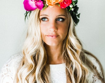 Bright + Colorful Tropical Flower Crown