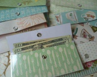 Cash Envelope System, Wallet, Budget, Slim Wallet Women, Minimalist Wallet Women, Envelope Wallet, Snap, Set of 12, Hand Stitched, Vinyl