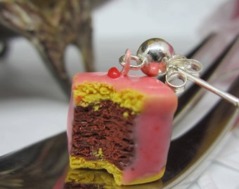 punch cake earrings, ear studs, realistic and hand sculpted earrings in polymer clay