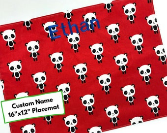 Placemat For Kids (Embroidered Name, Panda Bear Placemat, Cotton Placemat For Children, Red Placemat, School Lunch, Personalised Name)
