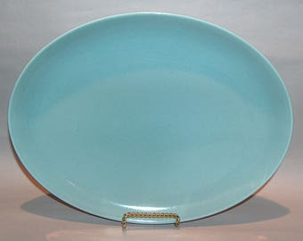 8366: Russel Wright Iroquois Casual Blue Oval Serving Platter Tray Vintage Mid Century Modern Dinnerware at Vintageway Furniture