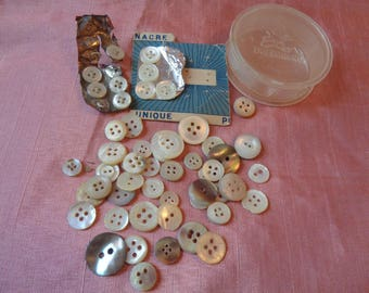 Antique French Tiny Mother of Pearl Buttons Possibly for Dolls.