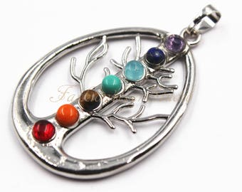 1 ps Tree of Life Chakra Pendant 33mmx42mm, Gem Stones Pendant, Silver Plated Pendant, Chakra Pendant, Healing Crystal Pendant