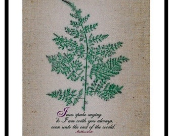 With You Always, Fern Leaf, God Inspired, Scriptures, Burlap, Religious Gift, Bible, Christian Wall Art, Digital Collage Art, Brown, Jesus