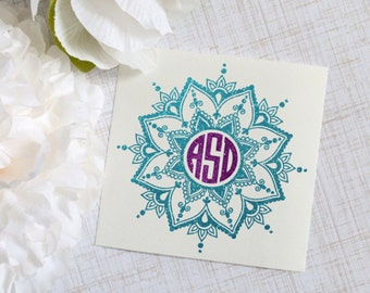 Mandala Monogram Glossy and Glitter Vinyl Decal, Laptop Decal