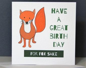Funny fox card, fox birthday card, fox sake card, funny fox card, funny fox birthday card, for fox sake card, Fox birthday card