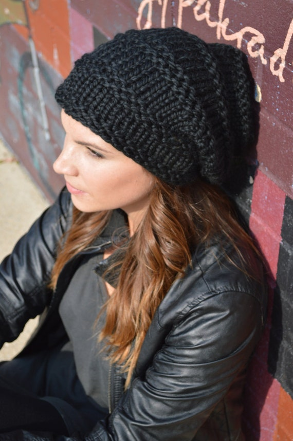 Slouchy Black Hat Knit Black Slouch Beanie Hand Knit
