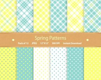 Buy 2 Get 1 Free Spring Digital Paper Spring Patterns Spring Paper Plaid Polka Dot Spring Scrapbook Digital Scrap Commercial Use Blue Yellow