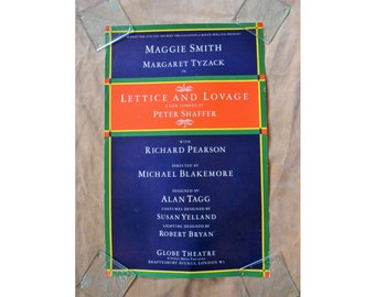 Downton Abbey Star ! Maggie Smith in Lettice and Lovage, 1987 Theatre Poster, London