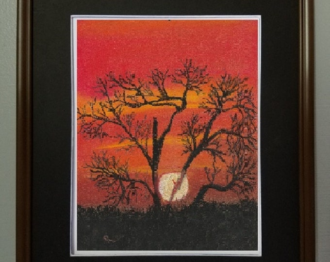 "8x10 Original Pastel Painting, ""Tree Highlighted by Setting Sun"""