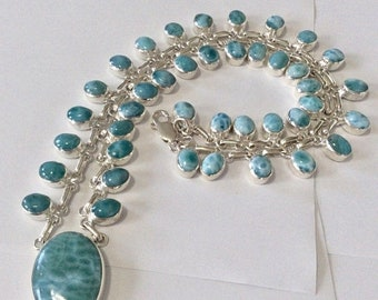 MOTHERS DAY SALE Incredible Triple A Grade Volcanic Blue Larimar Necklace .925 Sterling Silver Free Shipping & Insurance