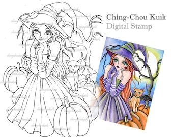 Night At The Pumpkin Patch - Digital Digi Stamp Instant Download / Halloween Witch Fantasy Art by Ching-Chou Kuik