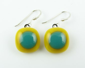 Marigold/Teal Fused Glass Earrings.  Modern Glass Jewelry.  Summer Jewelry.  Handcut and designed in Texas.