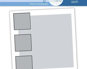 12 x 12 Storyboard Template (Four Photos) Photoshop file for Photographers