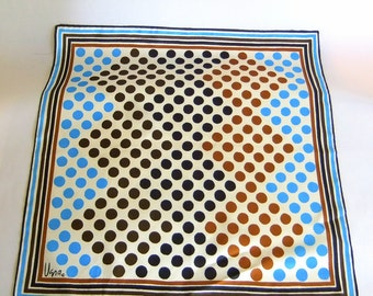 Vintage Mid Century Modern Vera Neumann Scarf - Square, Polyester, White Blue Brown Black, Polka Dots, Fall Colors, Head Scarf, Mod
