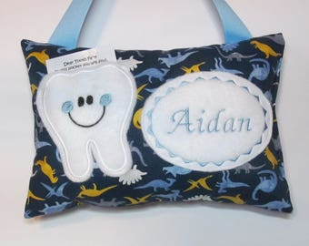 Tooth Fairy Pillow Personalized Dinosaur Dinosaurs with Light Blue Accent