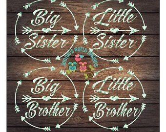 Big Sister/Brother Little Sister/Brother Bundle, Arrow, Circle, SVG/DXF/PNG Cutable File