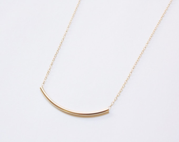 Curved Bar Necklace in Gold Fill - gold bar necklace - gold fill necklace - simple gold necklace - curved bar necklace - minimalist jewelry