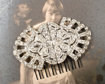 OOAK Antique Art Deco Hair Comb, 1920's Wedding Rhinestone Hairpiece Vintage Bridal Silver Crystal Dress Clips to Gatsby Headpiece Edwardian
