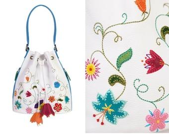 White floral bucket bag, leather shoulder handbag, flower embroidered purse, summer party bag, mom boho gift, handmade top handle handbag