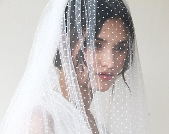 wedding Veil, fingertip length veil, dots tulle veil, mid length veil, 4019