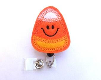 Halloween Badge Reel ID Holder - Happy Candy Corn - orange felt - nurse badge reel medical badge reel - fall autumn