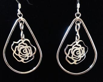 Teardrop Dangle Rose in the Center Earring. Sterling Silver Wires.