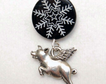 Flying Pig Snowflake Lapel Pin or Tie Tack, When Pigs Fly Tie Tack, Winter Lapel Pin, Black White and Silver Pin
