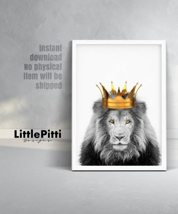 Lion king art lion crown lion print lion king with crown