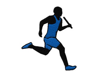 Track Male Runner with Baton Machine Embroidery Design - 2 sizes