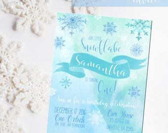 Snowflake Birthday invitation, Snowflake invitation, Printable ONE birthday invite, Water color invitation