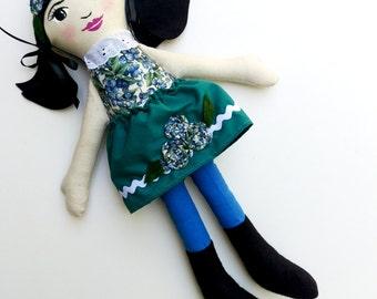 "SALE Asian Cloth Heirloom Doll, 18"" Black Hair Doll, Rag Doll READY to SHIP Asian Doll Soft Doll fabric doll christmas doll gifts under 50"