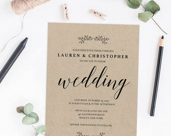 Simple wedding invitation Etsy