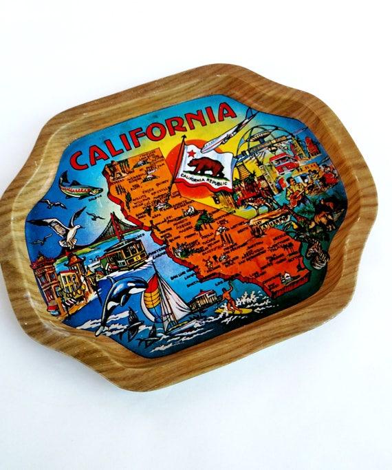 Vintage Miniature Souvenir Tin Tray from California