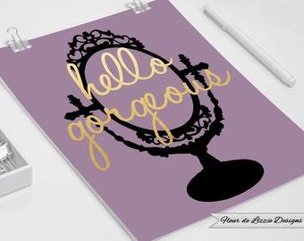Hello Gorgeous Gold Foil Black Vanity Frame Pink Printable Digital Download - Home Decor - Typography - Art - Chic - Couture - Designer