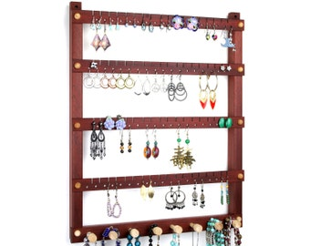 Earring Holder - Jewelry Organizer, Hanging, Wood, Bloodwood, Red, Necklace bar. Holds 72 pairs, 8 pegs. Jewelry Holder - Jewelry Display