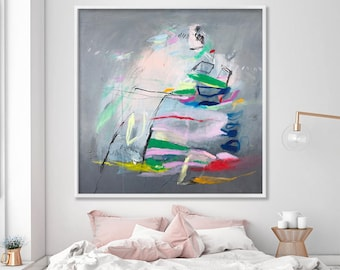 Large Abstract Print Giclee Print of Painting Large Wall Art Grey pink whimsical modern art city by Duealberi
